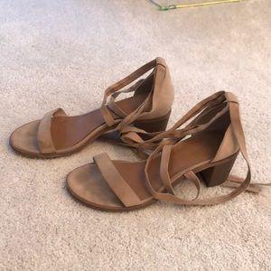 Nude wrap up heel sandals
